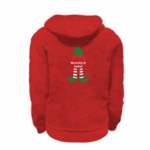 Kid's zipped hoodie % print% Happy Holidays Elf