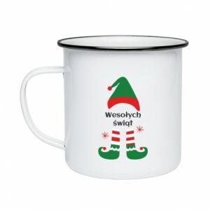 Enameled mug Happy Holidays Elf