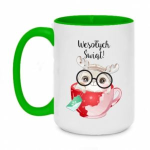 Two-toned mug 450ml happy holidays deer