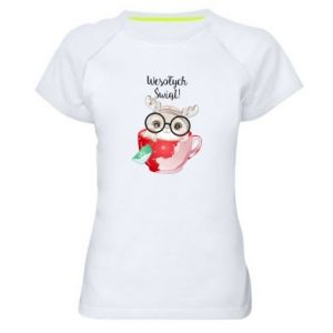 Women's sports t-shirt happy holidays deer