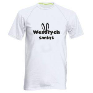Męska koszulka sportowa Wesołych Świąt, królicze uszy