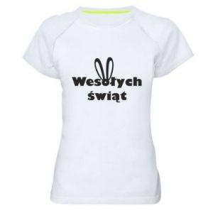 Damska koszulka sportowa Wesołych Świąt, królicze uszy