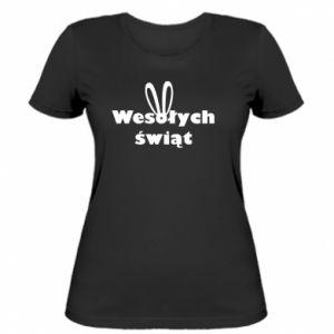 Damska koszulka Wesołych Świąt, królicze uszy