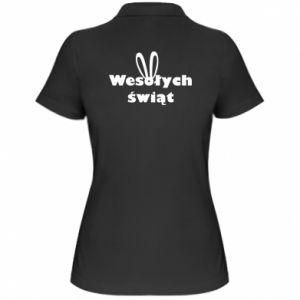 Damska koszulka polo Wesołych Świąt, królicze uszy