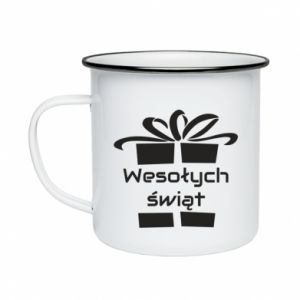 Enameled mug Happy holidays gift