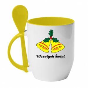 Mug with ceramic spoon Merry Christmas... - PrintSalon
