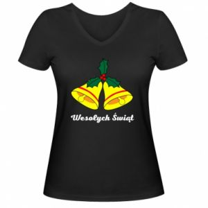 Damska koszulka V-neck Wesołych Świąt. Boże Narodzenie