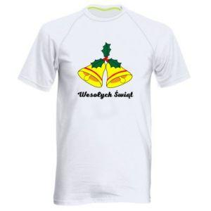 Męska koszulka sportowa Wesołych Świąt. Boże Narodzenie