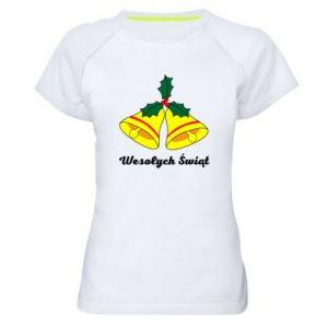 Damska koszulka sportowa Wesołych Świąt. Boże Narodzenie