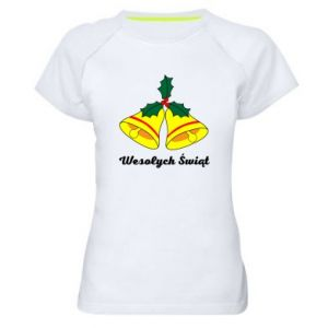 Women's sports t-shirt Merry Christmas... - PrintSalon