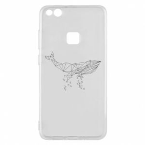 Phone case for Huawei P10 Lite Whale outline - PrintSalon