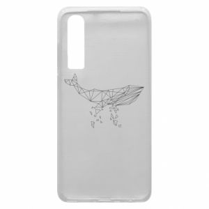 Phone case for Huawei P30 Whale outline - PrintSalon