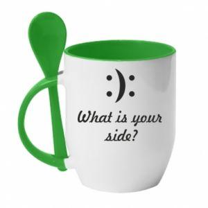 Kubek z ceramiczną łyżeczką What is your side?