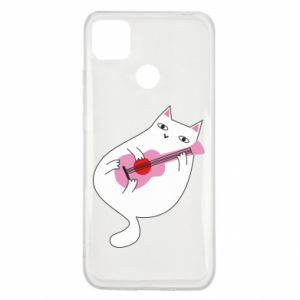 Etui na Xiaomi Redmi 9c White cat playing guitar