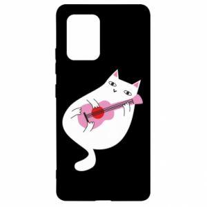 Etui na Samsung S10 Lite White cat playing guitar