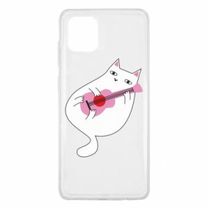 Etui na Samsung Note 10 Lite White cat playing guitar