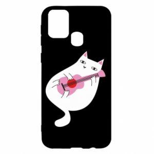 Etui na Samsung M31 White cat playing guitar