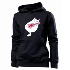 Women's hoodies White cat playing guitar - PrintSalon