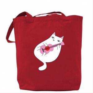 Bag White cat playing guitar - PrintSalon