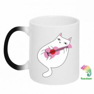 Chameleon mugs White cat playing guitar - PrintSalon