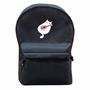 Backpack with front pocket White cat playing guitar - PrintSalon