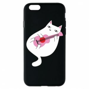 Etui na iPhone 6/6S White cat playing guitar