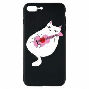 Etui na iPhone 8 Plus White cat playing guitar