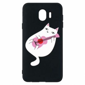 Etui na Samsung J4 White cat playing guitar