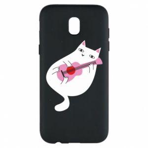 Etui na Samsung J5 2017 White cat playing guitar
