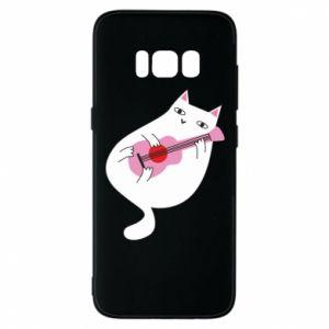 Etui na Samsung S8 White cat playing guitar