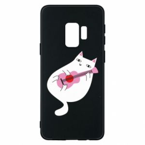 Etui na Samsung S9 White cat playing guitar
