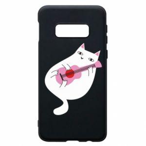 Etui na Samsung S10e White cat playing guitar