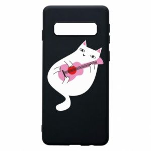 Etui na Samsung S10 White cat playing guitar