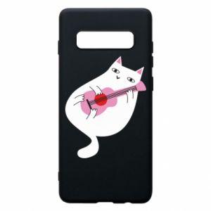 Etui na Samsung S10+ White cat playing guitar