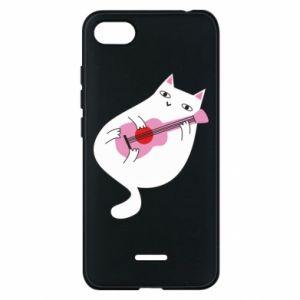 Etui na Xiaomi Redmi 6A White cat playing guitar