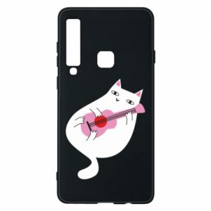 Etui na Samsung A9 2018 White cat playing guitar