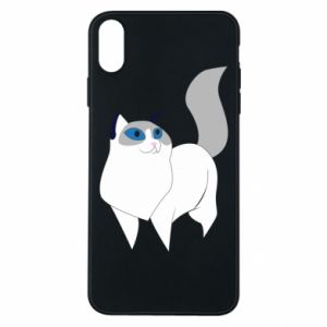Etui na iPhone Xs Max White cat with blue eyes