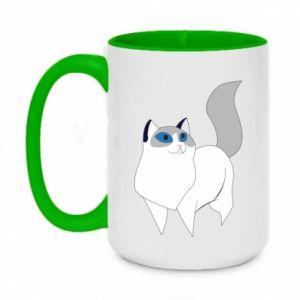 Kubek dwukolorowy 450ml White cat with blue eyes