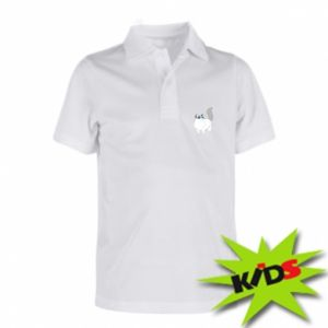 Children's Polo shirts White cat with blue eyes - PrintSalon
