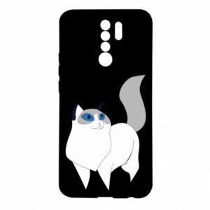 Etui na Xiaomi Redmi 9 White cat with blue eyes
