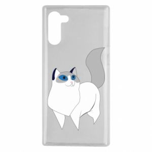 Etui na Samsung Note 10 White cat with blue eyes
