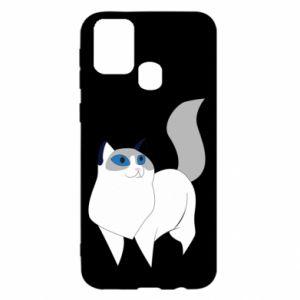 Etui na Samsung M31 White cat with blue eyes