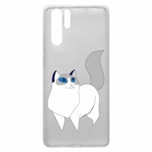 Etui na Huawei P30 Pro White cat with blue eyes