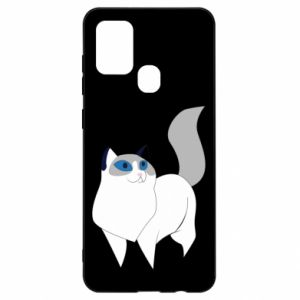 Etui na Samsung A21s White cat with blue eyes