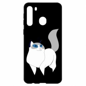 Etui na Samsung A21 White cat with blue eyes