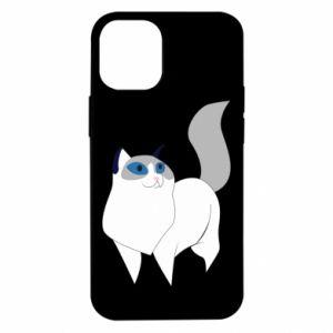 Etui na iPhone 12 Mini White cat with blue eyes