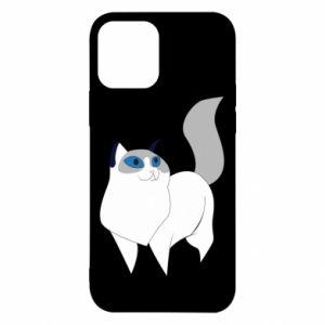 Etui na iPhone 12/12 Pro White cat with blue eyes