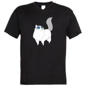 Men's V-neck t-shirt White cat with blue eyes - PrintSalon