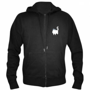 Men's zip up hoodie White cat with blue eyes - PrintSalon