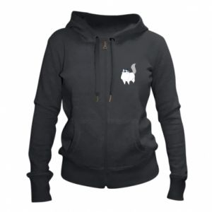 Women's zip up hoodies White cat with blue eyes - PrintSalon